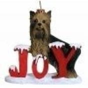 Joy Yorkie Christmas Ornament