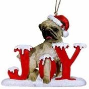Joy Pug Christmas Ornament