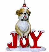 Joy Bulldog Christmas Ornament
