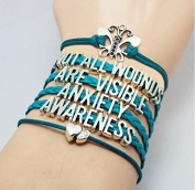 Ingooood Graduation Gift Leather Bracelets Jewellery for women not all wounds are visible anxiety awareness
