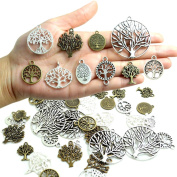 Bonayuanda Pack of 50 Alloy Tree of Life Charms Pendents Jewellery Findings for Making Bracelet and Necklace