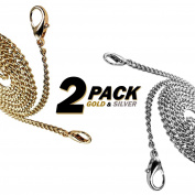 [2-PACK] Kroo Gold & Silver 120cm Long Mini Purse/Shoulder/Cross Body Bag Replacement Metal Strap