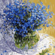 Adarl DIY Oil Painting Paint By Number Kit Image Drawing On Canvas By Hand Colouring Arts Crafts & Sewing NEW Blue Floral