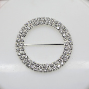7pcs 50mm x 50mm Round Shaped Rhinestone Buckle Slider for Wedding Invitation Letter