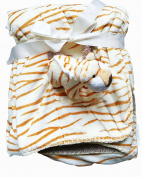 Adorable Beige Baby 2 Ply Borrego Blanket with Orange/Brown Stripes, 3D-Tiger in a Pocket