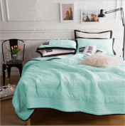 PinkMemory 3pc Quilt Sets with Matching Pillow Shams Solid Colour Bedspread/Coverlet Blanket Quilt Set for Teens Girls,Lightwight Microfiber,Twin/Full Size-Mint,Twin