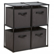 HomeCrate 4-Cube Grid System with Fabric Bins in Grey