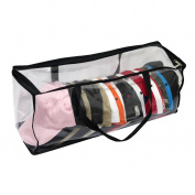 Evelots Large Clear Baseball Cap Storage Bag With Zipper and Black Handles