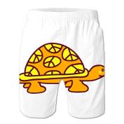 Chjeahtes Men's Turtle Designed Flag Swim Trunks Beach Pants