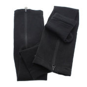 GGG Black Unisex Zippered Compression Pain Relief Leg Support Knee Socks Sox Open Toe - Small