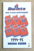 WASHINGTON BULLETS NBA BASKETBALL MEDIA GUIDE - 1994 1995 - NEAR MINT