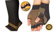 CopperCo. Premium Copper Threaded Glove And Compression Sock Set For Athletes, Physical Labour Workers, Gardening, Physical Rehabilitation Booster, And Many Many More Uses
