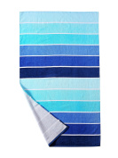 100% Cotton Beach Towel, Pool Towel Gradient Blue Striped (80cm x 150cm )—Soft, Quick Dry, Lightweight, Absorbent, and Plush