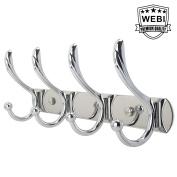 WEBI Classic Coat Hook Aluminium Alloy Coat and Hat Hooks Robe Bath Kitchen Towel Utensil Utility Hook Garment Rack Hanger Rail Holder, Wall Mount,Chrome Finish,C039-WHG-LG04-1