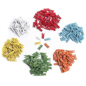 Package of 200 Miniature Wood Clothespins in Assorted Colours for Crafting, Embellishing and Designing