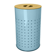 Light Blue Stainless Steel Laundry Bin & Hamper | 50L Ventilated Stainless Steel Clothes Basket With Wood Finish MDF Lid | Life Time Warranty|