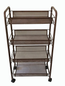 BonBon 4-Tier Wire Mesh Rolling Cart for Serving Utility Organisation Kitchen Cart with Portable Metal Handle Easy Moving Flexible Wheels - Bronze