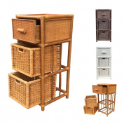 Rattan Nightstand Chest Basket Storage Unit model Dennis with Drawer 3Colors