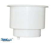 SeaLux UV stablized Recessed WHITE Plastic Drink Cup Holder replace insert for Marine Boat Car Van with 0.6cm drain