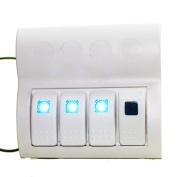 X-Haibei Boat Marine Waterproof Switch Panel ON OFF Blue LED Circuit Breaker 4 Way White