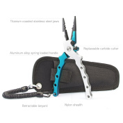 TICOZE Aluminium Fishing Pliers with Lanyard - Sheath and Braid Cutter for Saltwater and Freshwater