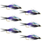The Fly Fishing Place Double Bead Purple Psycho Prince Nymph Fly Fishing Flies - 6 Flies Hook Size 10