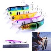 SMYTShop 4Pcs Fishing Baits Set Tackle Artificial Bait Soft Worm Lure Set Head Hooks Swimbait Life-like 13cm