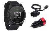 Bushnell Excel (Black) 2017 Golf GPS Watch Bundle with PlayBetter USB Car Charge Adapter | 35,000+ Worldwide Courses