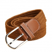 Guang-T Elastic Braided Stretch Belt with Silver Buckle Woven Braided Fabric Comfort Stretch Casual Belt for Women