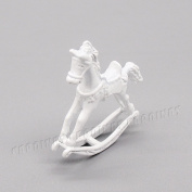 Odoria 1:12 Miniature White Rocking Horse for Baby Room Dollhouse Fairy Garden Accessories