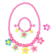 Kids Necklace Jewellery - Set For Little Girls, Toddlers, Children - Colourful Floral Stretch Play Necklace And Bracelet And Ring by LASLU