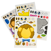 24 Make-A-Zoo Animal Sticker Sheets - Great Zoo And Safari Theme Birthday Party Favours - Fun Craft Project For Children 3+ - Let Your Kids Get Creative & Design Their Favourite Animal Sticker!