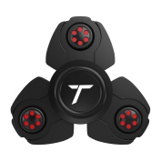 Trianium Fidget Spinner Pro Metal Series [Black] Stress Reducer Figit toy for Kid Adult [Easy Flick + Spin] Prime Ball Bearing Finger Spinner Hands Focus Toys Perfect For ADHD, Anxiety,Autism,Boredom