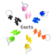 Honbay 6 Sets Reusable Soft Silicone Swimming Earplugs and Nose Clip Swimming Ear Nose Protector Sets Packaged by Transparent Plastic Box