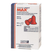 Howard Leight Max Single-Use Earplugs, Bulk Refill for LS-500 Dispenser, 500 Pairs /Box (MAX-1-D) by Howard Leight