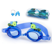 Kids Swim Goggles, Anti Fog UV Protection Leakproof Goggles for Children Youth Eary Teens with Ear Plugs and Nose Clip