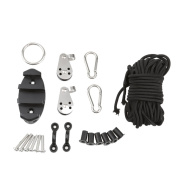 MagiDeal Kayak Anchor Trolley Kit With Well Nuts Carabiners Rope Accessories