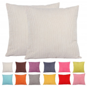 Comoco®-2pcs Solid Colour Small Corn Striped Corduroy Decorative Cushion Cover for Sofa Available In 15 Colours and 7 Sizes