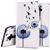Huawei Mate 9 case, Huawei Mate 9 Flip Wallet Case, Ukayfe Premium Flower Animal Cartoon Pattern PU Leather Wallet Case Cover Pouch [Magnetic Closure] with Card Slots for Huawei Mate 9,Kickstand,Credit Card Holder,Book Style Flip Wallet Cover, Blue Dan ..