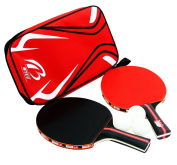 CaoBin 2-Pack Table Tennis Racket With Anti Slip Comfort Grip Handle and Table Tennis Paddle Bag,3 Pcs Ping-pong Ball