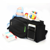 Sinxono Stroller Organiser Bag,Two Insulated Cup Holders, Extra-Large Storage Space for iPhones, Wallets, Nappies, Books, Toys, & iPads
