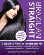 Brazilian Straight, (Complete) Keratin Home Use Treatment Kit, Salon Quality Hair Straightening/BlowDry, 100ml