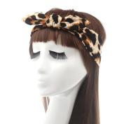Fletion Sexy Leopard Zebra Headband Rabbit Ear Bowknot Hairband Cross Turban Elastic Headwrap Twisted Knotted Head Wrap for Women Ladies Girls
