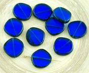 4pcs Picasso Crystal Sapphire Blue Striped Large Flat Round 8Edge Window Table Cut Coin Czech Glass Beads 15mm