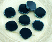 4pcs Picasso Opaque Black Brown Large Flat Round 8Edge Window Table Cut Coin Czech Glass Beads 15mm