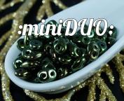 10g Metallic Green Luster MINIDUO Czech Glass Seed Beads Two Hole Mini Duo 2mm x 4mm