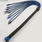46cm Whip and 46cm Flogger Tails Genuine and Real Leather Flogger Whip Blue Black