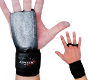 Leather Hand Grips with Wide Wrist Wraps-Perfect for Pull-up Training, Kettlebells and Barbell Training, Weightlifting.Leather and Hook and loop Wrist Support
