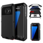 Galaxy S7 Edge Case, Seacosmo Full Body Rugged Slim Armour Aluminium Metallic Shockproof Scratch-Resistant Dual Layer TPU Bumper Case Cover for Samsung Galaxy S7 Edge, Black