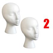 Dummy Model Heads, Transer® 2PCS Styrofoam Foam Mannequin Female Head Model Wig Glasses Hat Display Stand Dummy Heads